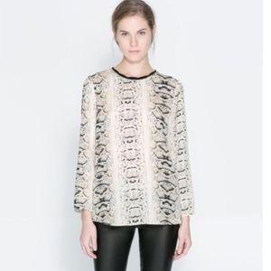 ZARA Snake Print Long Sleeve Blouse S NWOT